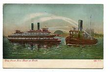 Vintage Postcard NY FIRE BOAT AT DRILL 1908