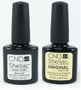100% AUTHENTIC CND Shellac Top Coat (7.3 mL) + Base Coat (7.3 mL) DUO SET