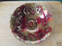 Vintage Goofus Glass Red and Gold Floral Design Bowl