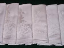 "9 Vintage Double Damask Napkins, 18"", Scrolling Design, Winter White, c1940"