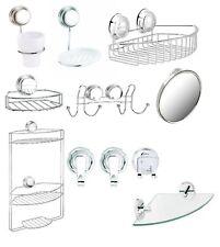 Chrome Twist 'N' Lock Plus Suction Fix & Screw Fix Bath Bathroom Accessories Set
