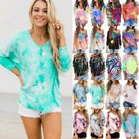 Women Baggy Tie Dye Long Sleeve Sweatshirt Pullover Autumn Blouse Jumper Tops AU
