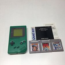 Nintendo Game Boy Original Green Handheld System Dmg-01 w/ 3 Games + New Screen