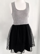 FLEUR WOOD WOOL KNIT TULLE TANK DRESS TUTU BALLET GREY BLACK SIZE 3 (Aus 12)