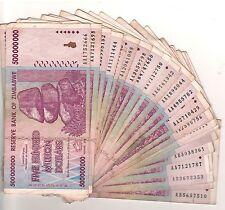 100 X Zimbabwe 500 Million Dollars AA/AB 2008, 50&100 Trillion Series,Circulated