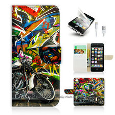 ( For iPhone 5 / 5S / SE ) Wallet Case Cover! Graffiti And Motocycle P0340