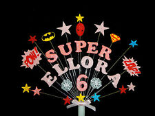 Superhero girl birthday cake topper,  personalised (spiderman, batman, superman)