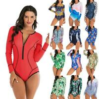 Women One Piece Swimsuit Long Sleeve Rash Guard Bathing Suit Surfing Swimwear