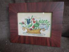 """Rosier Period Art, Berries, 10"""" x  8"""", 1989 Signed Nancy Rosier, #3"""
