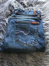 7 for all mankind Medium Wash Bootcut Jeans With Pink Rhinestone Detailed Pocket