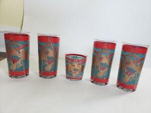 Mid Century SET 5 Glasses E Pluribus Unum Eagle w/Gold Tumblers Highball Drink
