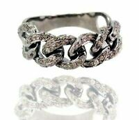 925 Sterling Silver Natural Pave Diamond Chain Ring Vintage Fine Jewelry SE