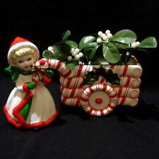Vintage Lefton Candy Cane Christmas Sleigh Planter and Girl Figurine