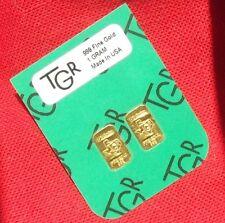 GOLD 1 GRAM 24K PURE TGR BULLION BARS 999 THE IDEAL PREPPER COMBO DOUBLE INGOTS.