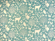 ENCHANTED WOODS DUCK EGG E27 COTTON CURTAIN FABRIC CHILDRENS BLUE FOREST ANIMALS