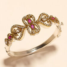 Faceted Pink Rubellite & Cz Topaz Gemstone .925 Silver Turkish Bangle Cuff