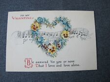 Antique Heart shaped flowers wreath To My Valentine Sweetheart Postcard