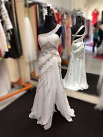 Prom Dress Bridesmaid Special Occasion Gown White Sequin Size 6