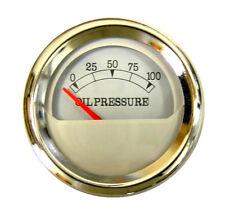 "Oil pressure Gauge, 2""/52mm, white/Chrome, 0-100 psi, blue LED, 043-O-WC"