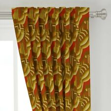 """Art Deco Retro Style Red Gold 1920S Vintage 50"""" Wide Curtain Panel by Roostery"""