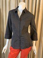 Covington Essentials Women's Shirt Black Polka Dot Blouse Button Down Sz L NWT