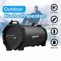 Portable Wireless Bluetooth FM Radio TF Speaker Outdoor Soundbox Stereo Bass Mic