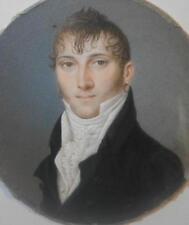 Impresionante francés georgiano Retrato Miniatura apuesto joven con pendientes