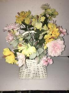 Silk Flower Arrangement White Yellow Pink Centerpiece Wedding In Wicker Basket