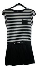 DKNY Girls Black White Striped Short Sleeve Dress 12