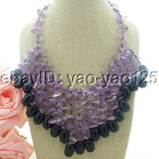H012907 19'' Top-Drilled Amethyst Black Agate Necklace
