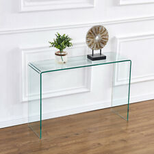 Clear Glass Console Table Waterfall Design Entryway Table Home Office Furniture