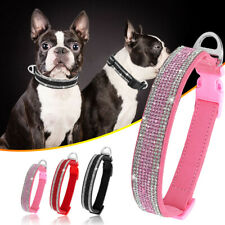 Small Medium Pet Dog Collar Rhinestone Crystal Soft Suede Leather Pink  Black