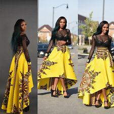 African Women Printed Summer Boho Long Dress Beach Evening Party Maxi Skirt L