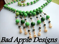 Peach Cube Crystal Apple Green Acrylic Beaded Gold Accented Bib Style Necklace