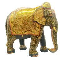 """Wooden Elephant Statue Floral Painting Natural Wood Hand Carved Sculpture 12"""""""
