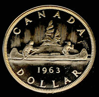 1963 Uncirculated $1.00 Canada Silver Dollar .800 Silver • Proof Like