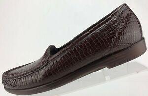 SAS Simplify Tripad Comfort Brown Patent Croc Moc Toe Loafers US Womens 9.5 S US