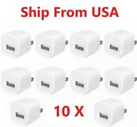 10x White 1A USB Power Adapter AC Home Wall Charger US Plug For iPhone iPod