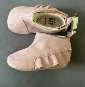 Baby Girl 3-6 Month Baby Gap Pink Textile Moccasins Ankle Booties Shoes