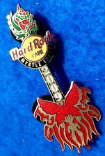 New listing Myrtle Beach Red Butterfly Silver Guitar Rose Headstock 2009 Hard Rock Cafe Pin