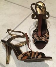 NINE WEST 'Keeper' Fur Animal Print Leather platform stiletto Heels 8M SOLD OUT