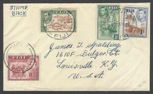 Fiji KGVI King George VI 1954 multi franked cover to USA