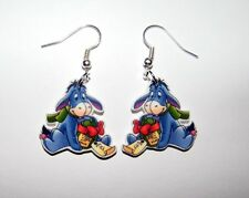 Eeyore with his Christmas gift  from Winne the Pooh Story Book Earrings