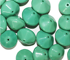 Green Disc Czech Pressed Glass Beads 13mm ( pack of 20)