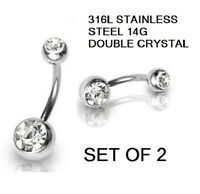 2 DOUBLE ENDED CRYSTAL  NAVEL BELLY BAR 316L STAINLESS STEEL 14 GUAGE