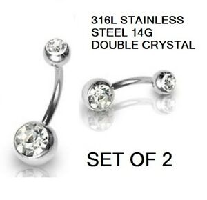 DOUBLE ENDED CRYSTAL  NAVEL BELLY BAR 316L STAINLESS STEEL 14 GUAGE