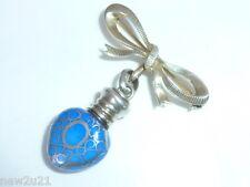 Edwardian Silver miniature Glass Heart perfume scent Bottle Chatelaine Brooch