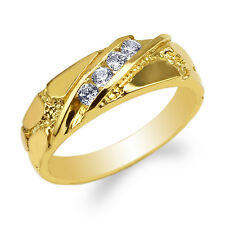 JamesJenny 14K Yellow Gold Round CZ Unique Pattern Wedding Band Ring Size 4-10