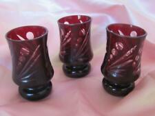 VINTAGE BOHEMIA HANDMADE SET OF 3 RUBY RED CRYSTAL GLASSES