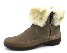 Clarks Nibble Edible UK 7 Extra Wide Fit Khaki Suede Fur Trim Zip Up Ankle Boots